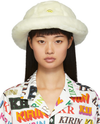 Kirin Off-White Faux-Fur Smile Bucket Hat