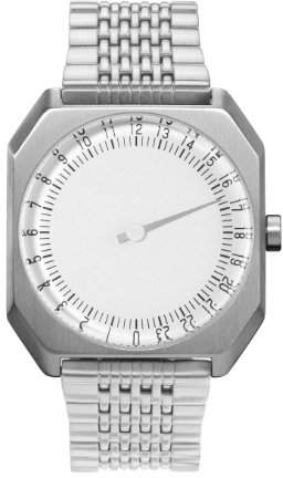 Slow Jo 01 - All Silver Steel Dial Unisex Quartz Watch with Silver Dial Analogue Display and Silver Stainless Steel Bracelet
