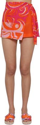 Emilio Pucci Printed Chiffon Wrap Shorts