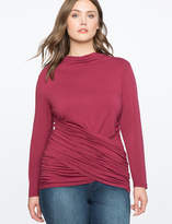 ELOQUII Ruched Cross Front Long Sleeve Top