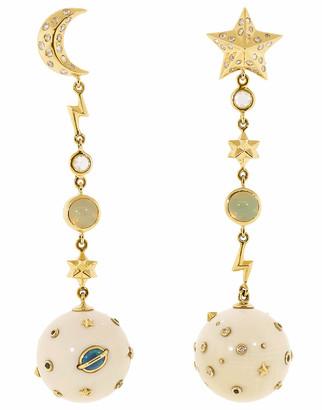 Bibi Van Der Velden Galaxy Star and Moon Opal Earrings