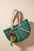 Anthropologie Braided Straw Tote Bag