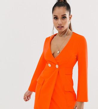 Asos DESIGN Petite fluoro tux dress with button detail-Orange