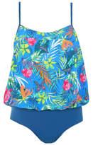 George Exotic Print Placement Blouson Swimsuit