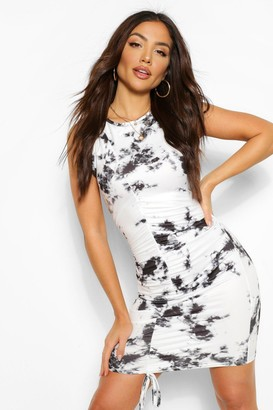 boohoo Tie Dye Rouched Sleeveless Mini Dress