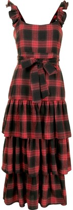 LIKELY Plaid Tiered Ruffle Dress