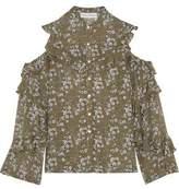 Robert Rodriguez Ruffled Cold-Shoulder Floral-Print Silk-Chiffon Blouse