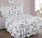 GorgeousHome (@#2) PARIS Girls Design Double Ruffle Comforter or Sheet Set or Window Curtain Panel or Valance Kids/Teens Complete Your Set (4PC TWIN RUFFLE COMFORTER SET)