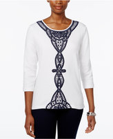 Alfred Dunner Lace-Trim Three-Quarter-Sleeve Top