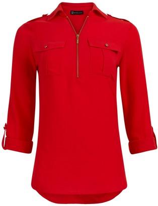 New York & Co. Roll-Tab Utility Zipper Shirt