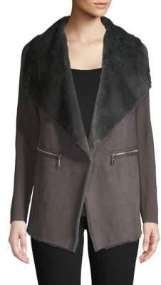 Premise Faux Fur Wide Lapel Coat