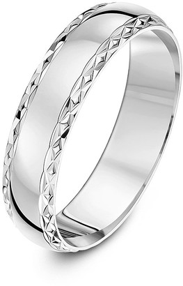 Theia 9 ct White Gold Diamond Shaped Edge Design Polished 5 mm Wedding Ring - Size Z
