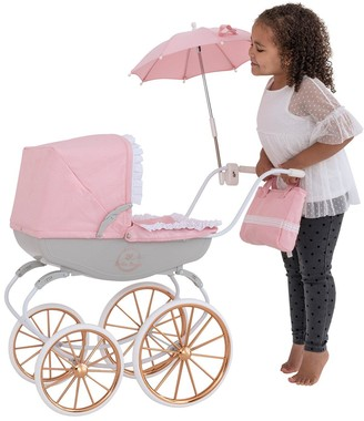 Bella Rosa Carriage Pram Bundle(With Rose Gold Wheels & Frill Edge To Hood)