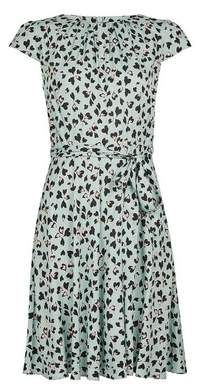Dorothy Perkins Womens Billie & Blossom Petite Blue Animal Heart Print Fit And Flare Dress, Blue