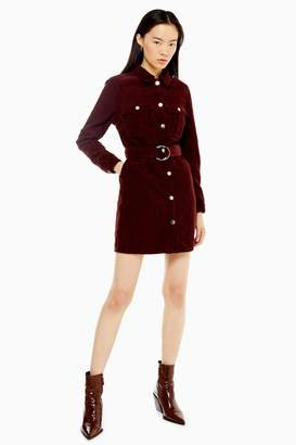 Topshop Womens Tall Burgundy Corduroy Belted Shirt Dress - Wine
