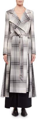 Roland Mouret Drummond Plaid Cotton Trench Coat