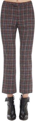 Isabel Marant Derys Check Wool Blend Boot Cut Pants