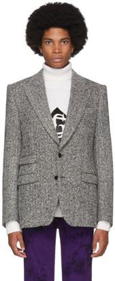Dolce & Gabbana Grey Wool Herringbone Sicilia Blazer