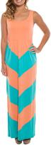Apricot & Aqua Chevron Maxi Dress