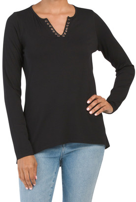 Grommet Detail Henley Top