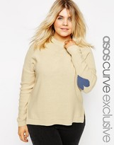 Asos Boxy Sweater With Heart Elbow Patch
