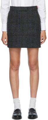 Thom Browne Grey Wool Check Miniskirt