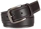 Roundtree & Yorke Big & Tall Contrast-Stitched Leather Belt