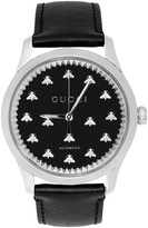 Gucci Silver and Black G-Timeless Automatic Bees Watch