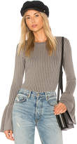 Central Park West Coconut Grove Bell Sleeve Sweater in Gray. - size L (also in M,S,XS)