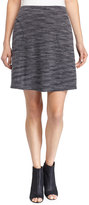 Max Studio Ponte Knit A-Line Skirt w/Tonal Stitching, Gray
