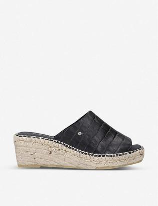 Carvela Konform croc-embossed leather wedge sandals