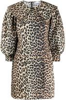 Ganni Leopard Print Puff-Sleeve Dress