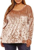 Boutique + + Long Sleeve Velvet Sweatshirt-Plus