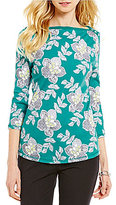 Westbound Printed 3/4 Sleeve Boat Neck Top