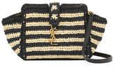Saint Laurent Striped Raffia Small Cabas Crossbody Bag, Neutral