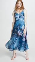 Marchesa Sleeveless Organza Gown with 3D Flowers
