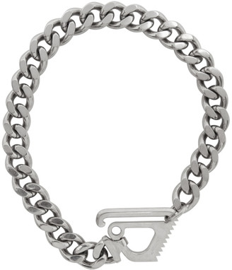 Off-White Silver Mecanic Pendant Necklace