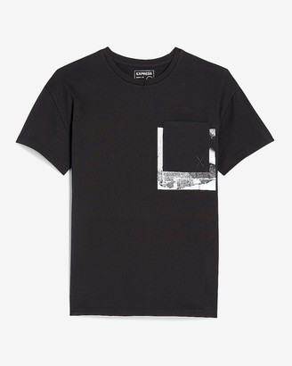 Express Black Photo Graphic Pocket T-Shirt