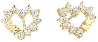 Michael Kors Pave Heart Stud Earrings (Gold Tone) Earring