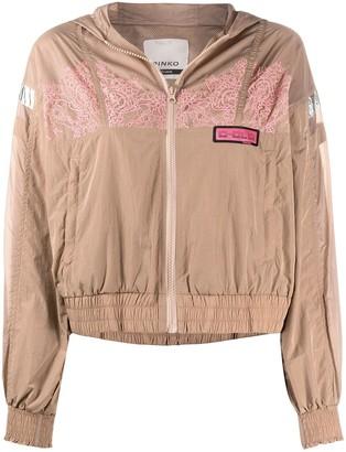 Pinko Lace-Trim Hooded Jacket