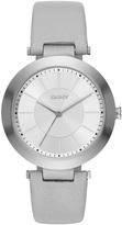 DKNY Stanhope Grey Leather 3 Hand Watch