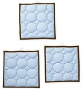 Bacati Quilted Circles Blue/Chocolate 3 pc wall hangings