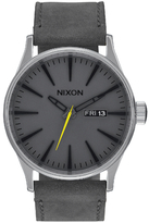 Nixon The Sentry Leather Watch Charcoal