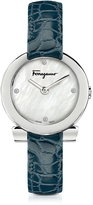 Salvatore Ferragamo Gancino Stainless Steel and Diamonds Women's Watch w/Blue Croco Embossed Strap