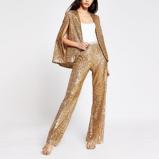 River Island Gold sequin trousers