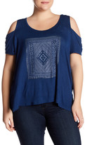 Jessica Simpson Lorani Cold Shoulder Graphic Shirt (Plus Size)