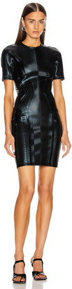 Thierry Mugler Short Sleeve Embossed Mini Dress in Black | FWRD