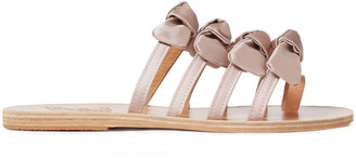Ancient Greek Sandals Hara Bow-embellished Satin And Leather Sandals