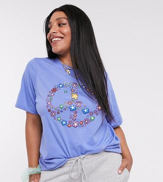 Daisy Street Plus relaxed t-shirt with peace sign print in purple