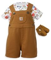 Carhartt 3-Piece Farm Shortall, Bodysuit, and Socks Set in Brown/White